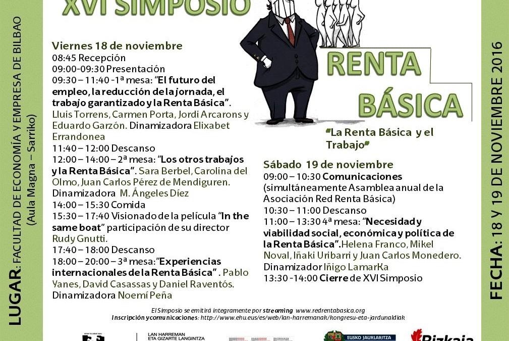 Importante aportación económica de la Universidad del País Vasco y de las Instituciones Vascas a la organización del XVI Simposio de la Renta Básica