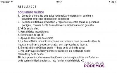 Espectacular apoyo a la Renta Básica incondicional entre la militancia de Podemos Euskadi
