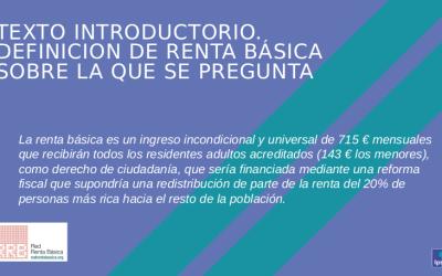 Nueva encuesta sobre la Renta Básica en el reino de España